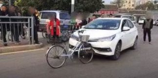 Car Damaged By Bicycle After Collision photo goes viral