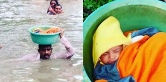 si govind rescued baby in throat filled water